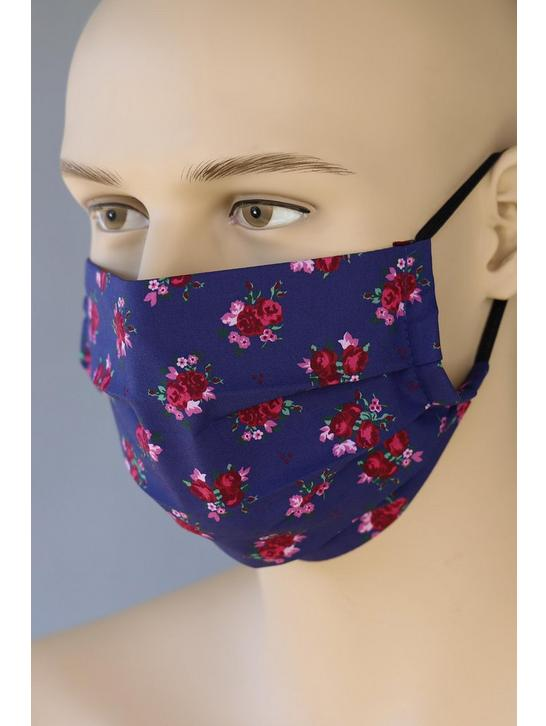 Trachten Maske Love-Nature Blau Blumen in Blau